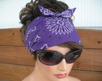 Womens Headband Fabric Headband Accessories Women Summer Fashiom Head Scarf Yoga Headband in Dark purple Bandana - Choose color