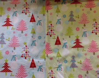Riley Blake snowmen and trees design in blue or green by the half metre 100% cotton