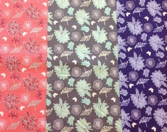 Fabric freedom springtime floral collection butterfly pattern in pink, grey or purple by the half metre 100% cotton
