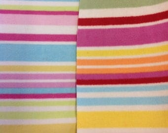 Super soft striped fleece fabric by the metre in pastel or bold colours