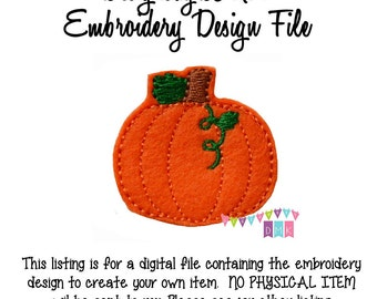 In The Hoop Pumpkin with Vine SHORT Feltie Embroidery Design File INSTANT DOWNLOAD