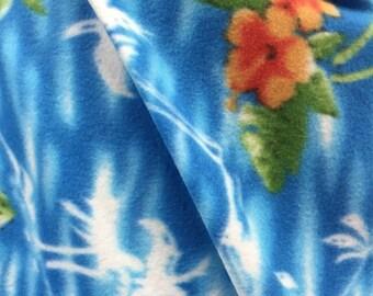 Island Floral Printed Polar Anti Pill  Fleece Fabric - By the Yard - Blue
