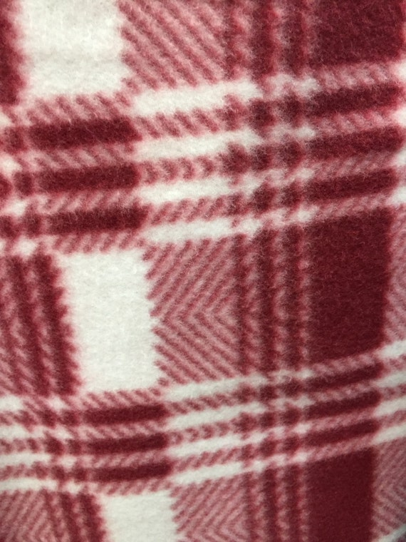 plaid print polar anti pill fleece fabric by the yard red white from sofiretail on etsy studio. Black Bedroom Furniture Sets. Home Design Ideas