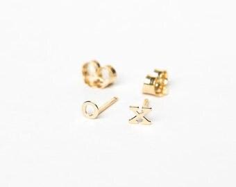 Tiny Solid 14 Karat Gold initial earrings- 14 Karat solid Gold letter earrings- Custom initial Gold earrings-  layered earrings-