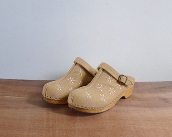 Vintage 90's Canvas & Wood Clog Mule Platform Heels US 5 6