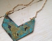 gold chevron layering necklace with navy turquoise patina