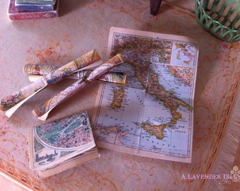 Distressed/Vintage Maps for Dollhouse Miniature