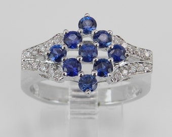 Diamond and Blue Sapphire Ring Cluster Ring Statement Ring 14K White Gold Size 6.75