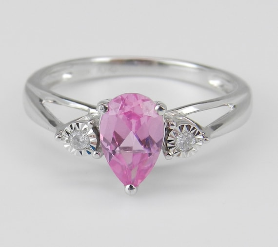 SALE White Gold Pear Pink Topaz and Diamond Engagement Promise Ring Size 7
