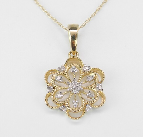 SALE Diamond Snowflake Pendant Necklace Yellow Gold Round Brilliant Chain 18""