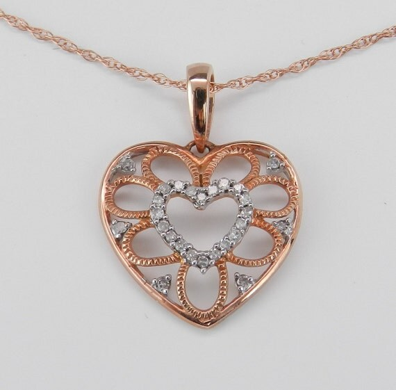 SALE Diamond Heart Pendant Pink Gold Rose Gold Round Brilliant Necklace Chain 18""