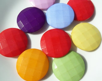 35mm. 8CT. Flat Round Faceted Beads, Mixed Colors ONLY!, Acrylic Beads, Flat Round, Mixed Color, 35mm, E13