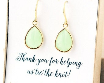 Two for One Light Green Bridesmaid Jewelry Weddings Bridesmaid Earrings Bridesmaid Gift Bridal Earrings Jewelry Wedding Jewelry