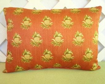 Pineapple Pillow/ Terracotta Pillow/ Persimmon Pillow/ Persimmon, Yellow, Green Pillow/ Accent Pillow/ Decorative Pillow