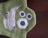 Green Cotton Washcloth - Kids Monster Wash Mitt - Bathroom Accessory - Gift Under 20
