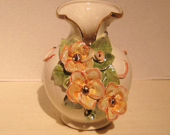Vase with Pink Flowers accented in Gold