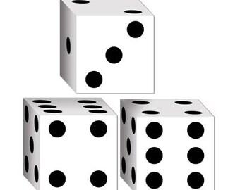 "Dice Favor Box or Small Gift Box - 3 1/4"" x 3 1/4"" x 3 1/4"""