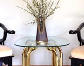 Glass and Brass Side Table, Milo Baughman Style, Hollywood Regency