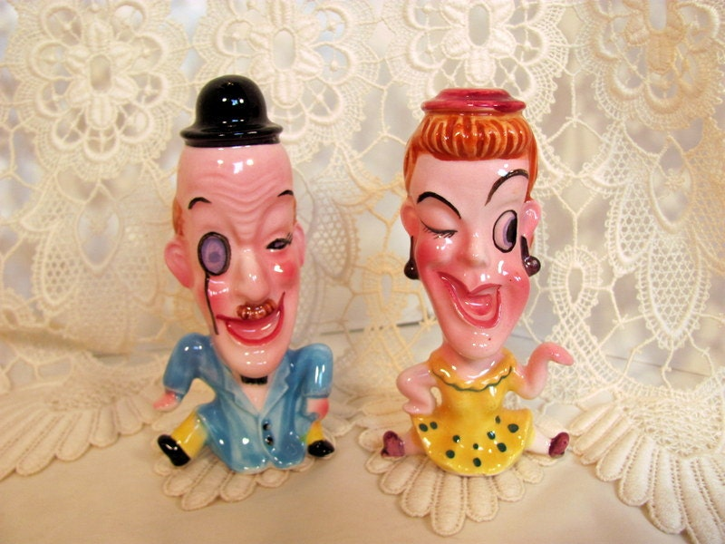 Funny Man And Woman Salt And Pepper Shakers By