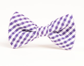 SHIPS FREE Bow Tie for Boys ages newborn, baby, toddler, little boy.  Purple Gingham. standard or diamond tip,FREE shipping