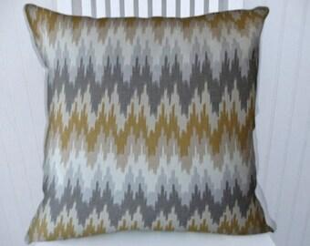 Gold Grey Chevron Pillow Cover -18x18 or 20x20 or 22x22 -Zig Zag Throw Pillow Cover- Accent Pillow, Lumbar Pillows- Grey, Yellow/Gold.