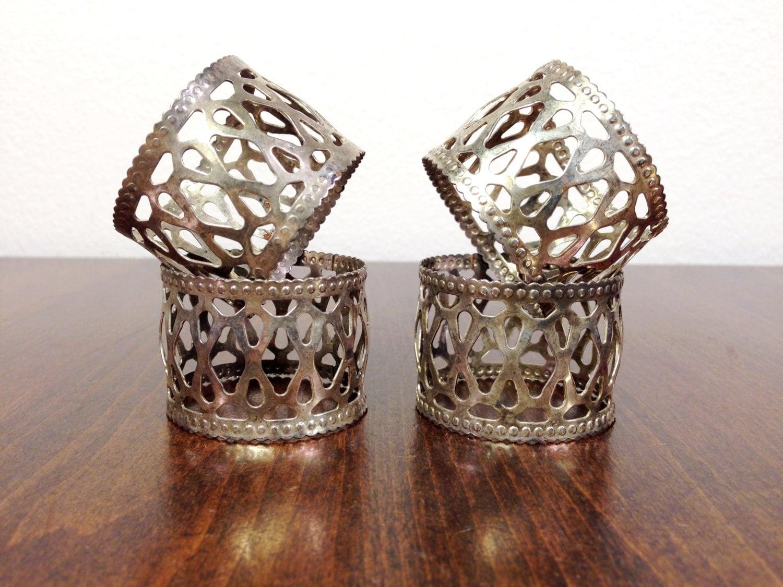 napkin rings antique silver filigree by lafemmemoderne on etsy