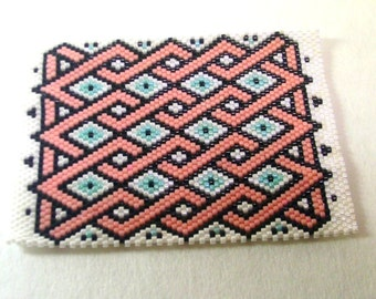 Beaded ACEO Mat - Pansy Pink Ribbon - Glass Delica Seed Beads - OOAK 1495