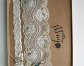 Lace Garter, Ivory and Gold Lace, Floral embroidered, something blue, rhinestone, toss garter READY TO SHIP