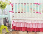 Gradient Pink Tiered Ruffled Crib Skirt, Pink Ombre Crib/Toddler Skirt, SKIRT ONLY