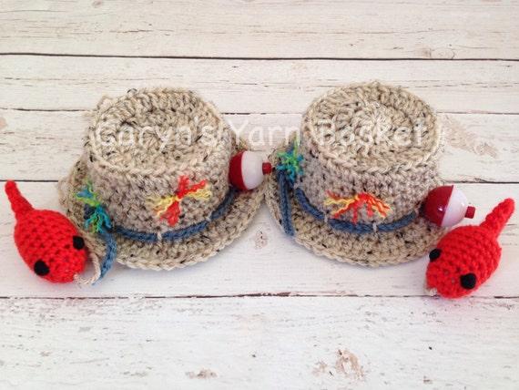 Items similar to twin baby boys fishing fisherman crochet for Toddler fishing hat