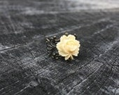SALE Elegant Ivory Lace Floral Brass Filigree Ring