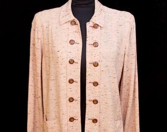 1940s Jacket // Slubby Texture Mock Button Swing Coat