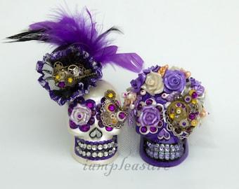 Skull weddings steampunk cake topper handmade bride and groom
