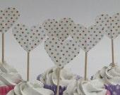 Heart shaped polkadot cupcake topper - food pick - tooth pick cream pastel