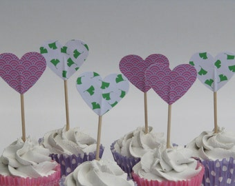 Cupcake topper - food pick - tooth pick heart shaped pink green mix - 20 pcs
