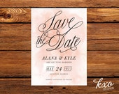 Watercolor Save the Date PDF, Printable watercolor save the sate, Save-the-Date, Script Save the Date