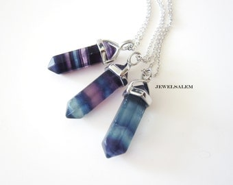 Fluorite Necklace Ombre Blue Purple Point Gemstone Arrow Crystal Raw Mineral Stone Silver Layering Long Necklace Gift Modern Elegant
