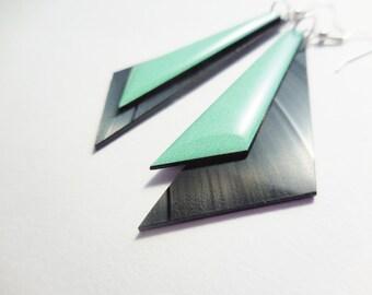 statement earrings mint green earrings geometric earrings vinyl earrings long earrings eco earrings minimalist earrings triangle earrings