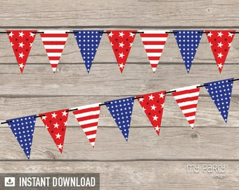 4th of July Party - Banner - Red Blue Stripes & Stars - INSTANT DOWNLOAD - Printable PDF