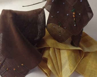 Vintage Hanky Trio, Brown and Gold