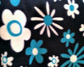 Blue Teal Flowers Blizzard Fleece Fabric, By The Yard