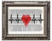 Love Heartbeat with Heart on Vintage Upcycled Dictionary Art Print Book Art Print Recycled Symbols Love Passion