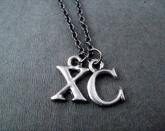 XC Pewter Initial Necklace / Bracelet - Pewter Charms on Gunmetal chain - XC Necklace - XC Bracelet - Cross Country Team - Xc Mom - Xc Team