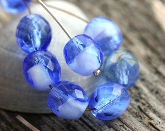 Sapphire blue beads, Czech glass, blue beads, fire polished, round beads, faceted beads - 10mm - 6Pc - 2075