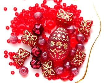 Red beads mix, czech glass, seed beads, butterfly beads, large focal oval bead, round spacers - 15gramm - 1309