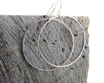 "Rustic Sterling Silver 2"" Hoops Earrings - Handmade Textured Large Hoops"