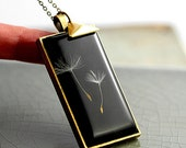 SALE 40% OFF: Real Dandelion Necklace - rectangular pendant with a gold plated triangle and long necklace.