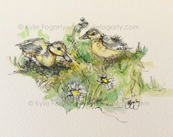 """Duckling - ACEO Print of Pen and Wash Painting of a """"Two Ducklings with Daisies"""" by Kylie Fogarty Art"""