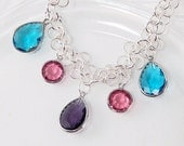 Colorful Crystal Charm Necklace - Silver Dancing Chain - Summer - Gifts Under 30