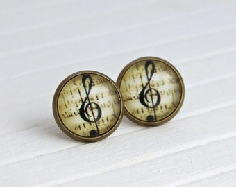 Music Note Earrings .. small studs, small music earrings, everyday jewellery, sheet music